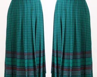 vintage 70's Pendleton Pleated Plaid Wool Midi Skirt l 26W