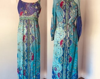 Vintage 70's Emilio Pucci Gown & Night Coat Formfit l M
