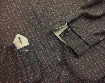 1950's Gabardine RICKY JACKET / Flecked Check Reversible Jacket / Chocolate Fleck to Beige   / Men's SMALL