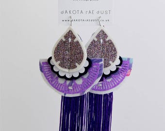 ULTRA VIOLET glittery EARRINGS with purple tassels. Oversize earrings, cut from recycled, floral fabric and hand stitched.