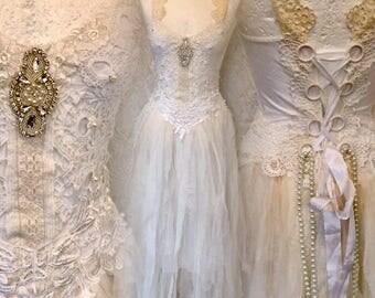 Wedding dress white,bridal gown extraordinaire,bohemian wedding dress,lace wedding dress,alternative wedding dress,statement wedding,rawrags