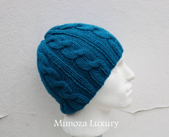Petrol Blue Men's Beanie hat, Hand Knitted Hat in teal blue beanie hat, knitted men's, women's beanie hat, winter beanie hat, blue ski hat