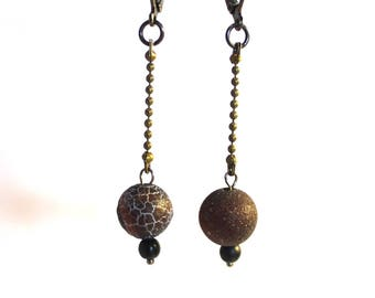 Crackle Agate Chocolate Colored Long Drop Pierced Earrings on Ball Chair Lever Back Latches