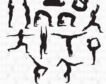 Yoga Silhouettes, Yoga Clipart, Yoga SVG, Silhouette Clipart, Silhouette SVG, Decal for Shops, Yoga, Commercial Use