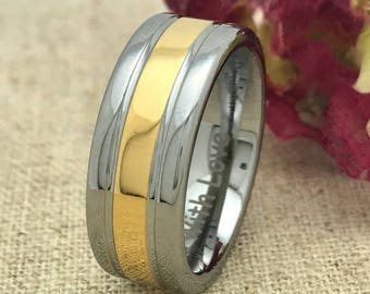 8mm Tungsten Wedding Ring, Personalized Engrave Tungsten Wedding Ring, Two Tone Unisex Wedding Ring, Father's day Gift