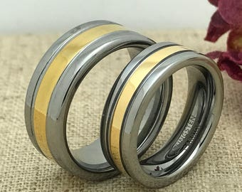 8mm/6mm His & Hers Wedding Ring Set, Personalize Custom Engraved Yellow Gold Plated Tungsten Ring, Wedding Rings, Promise Ring, Couples Ring