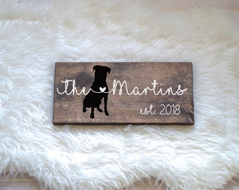 Last Name Wood Sign with Rottweiler Silhouette, Wedding Signs, Last Name, Wedding Gift, Dog Wedding Gift, Anniversary Gift, Entryway