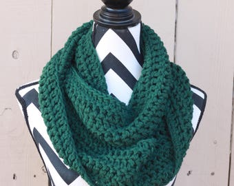 Ready to Ship Forest Green Infinity Scarf