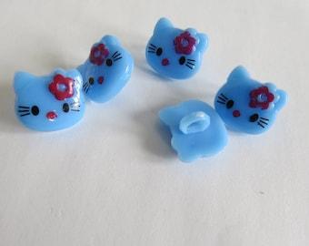 Blue kitten button