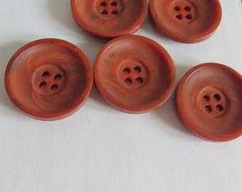 Vintage orange button contemporary four-hole