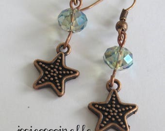 Starfish earrings and Crystal by JosieCoccinelle