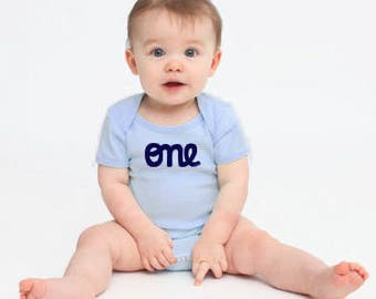 "Baby Boy 1st Birthday Outfit  Short Sleeve first birthday ""one"" cute onesies for baby boys personalized onesie,"