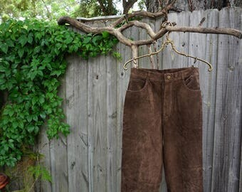 brown suede high waisted pants