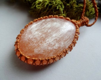 Large size stone necklace with Orange Selenite /Sacral Chakra necklace healing stones jewelry protection Necklace Reiki stones