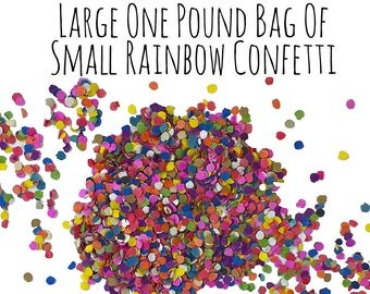 1 Pound Small Paper Rainbow Confetti, Small Confetti, Party Supplies, Party Decorations, Pinata Stuffers, Mexican, Birthday Party Decoration