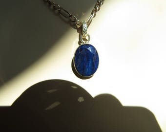 "Genuine 6.00CT  Earth Mined Blue Sapphire 925 Silver Dangle Pendant, Wt. 3.6 G, 1.5"" Long"
