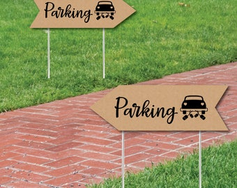 Wedding & Reception Signs - Rustic Wedding Parking Sign - Double Sided Directional Yard Signs - Wedding Sign Arrow - Set of 2 Parking Signs