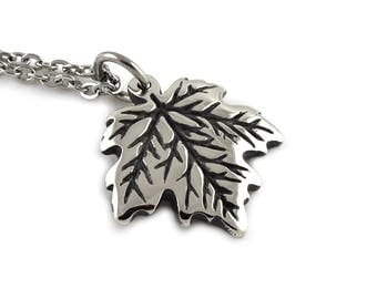 Maple Leaf Necklace, Nature Pendant Jewelry in Pewter
