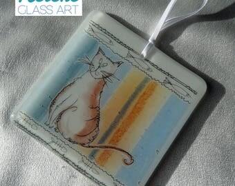 "NEW ""Cat's Whiskers"" Handmade Fused Glass Ready to Hang Suncatcher (10cm x 10cm)"