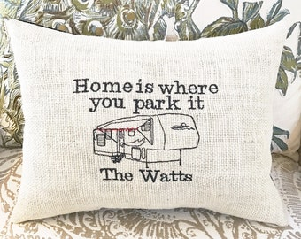 Fifth Wheel Camping RV Decor Dad Gift 5th Camper Pillow Quotes Words