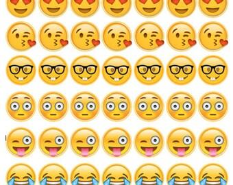 "1"" Emoji Bottle Cap Designs"
