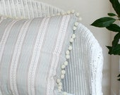 Green Striped Linen Cushion Cover with Pom Pom Trim