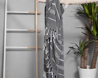 Turkish Towel Black   Authentic Turkish Towel Throw Bath Towel Fouta Cotton Towel Yoga Blanket Sarong Summer Accessory Christmas Gift TAL03