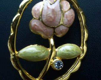 Vintage Oval Goldtone Gemstone Flower Pin