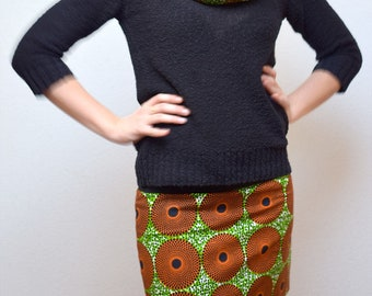 Jupe en wax réversible, jupe courte, jupe imprimée Africain target, jupe Ankara, mini jupe, jupe ethnique, jupe africaine, motif vert/orange