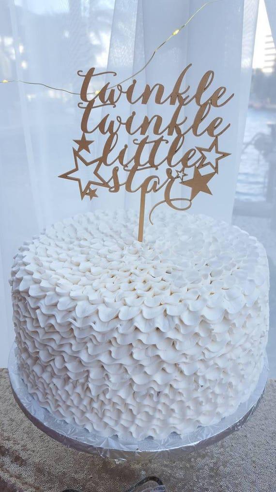 Twinkle Twinkle Little Star Cake Topper, Baby Shower Cake Topper,  Gender Reveal Party Cake Topper, Glitter Cake Topper, Wooden Cake Topper