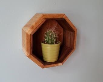 Octagon Oak and Walnut Shelf
