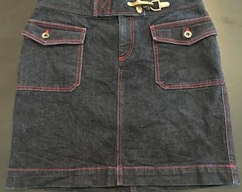 1990s Size 4 Ralph Lauren Denim Mini Skirt
