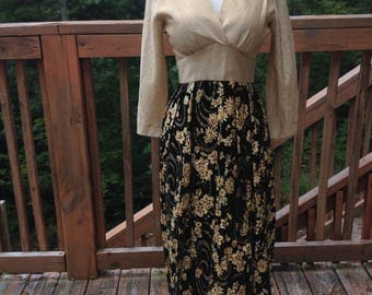 Floor Length Empire Waist Dress - Metallic Gold Bodice and Floral Skirt Metallic Threads - Great for New Years Eve - Medium - Renesse Label