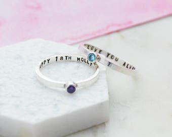 Silver Secret Message Birthstone Ring | Skinny Silver Birthstone Ring | Sterling Silver Personalised Cubic Zirconia Ring | Gift for her