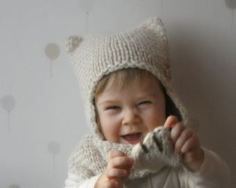 KNITTING PATTERN cat striped earflap hat and scarf set Kitty Kat (baby/ toddler/ child/ woman sizes)