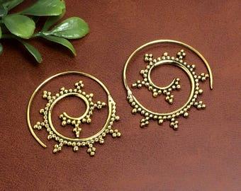 Spiral Design Bras Earring