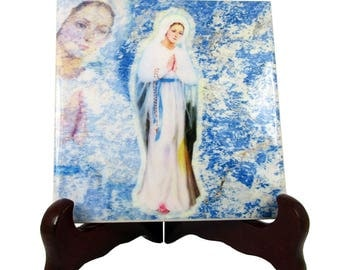 Our Lady of Banneux catholic icon on ceramic tile - religious art - devotional gift idea - christian art - Virgin of Banneux Virgin Mary art
