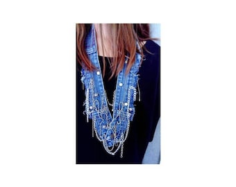 Jeans Necklace / Textile jewelry / Denim Necklace / Denim Jewelry / Reused Jeans Necklace / Chains Necklace / Recycled Jeans Necklace