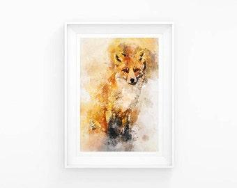Fox Watercolour A3 Print