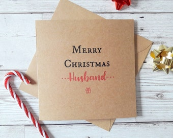 Husband Christmas card, merry christmas, happy christmas, Xmas greetings cards, Kraft Christmas card, square festive typography card
