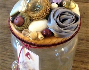 Wishes Jar Violet Rose, hand-decorated jar