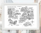 Personalised Couple's Hand Drawn Map - 10 Locations - Wedding Gift - Anniversary Present - Moments Map - Life Map - One of a Kind