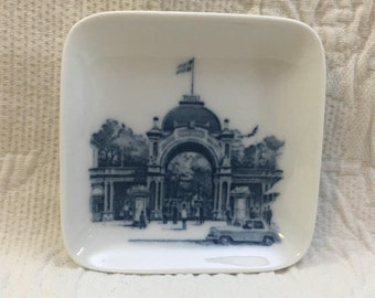 Blue on White Royal Copenhagen Square Hanging Plate, Cobalt Blue and White Royal Copenhagen Hanging Wall Plate, 1970s