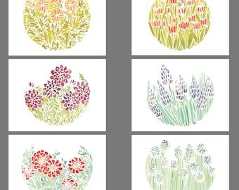 Flowers - 6 Blank Greeting Card Set