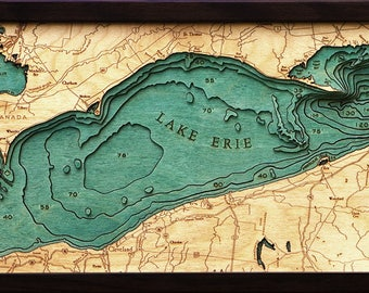 Lake Erie Wood Carved Topographic Depth Map