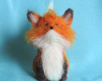 Little red fox, needle felted fox, woodland animal, wool fox, handmade fox, tiny wool fox sculpture, unique fox, beard