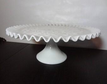 Vintage Fenton Spanish Lace Milk Glass Pedestal Cake Stand/Plate Ruffled Edge - Wedding/ & Fenton cake stand Spanish Lace white pedestal cake stand