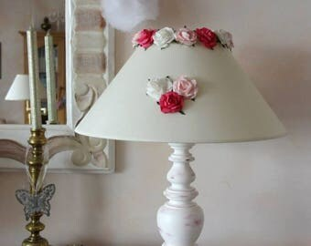 Romantic lamp, shabby chic to ask, patina - lamp shade with flowers