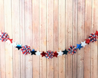 Red, White, & Blue Patriotic Star Garland - Independence Day, Labor Day, Memorial Day, 4th of July