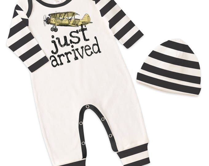 Newborn Boy Take Home Romper, Baby Boy Airplane Romper, Baby Boy Black Stripe Bodysuit Hat, Just Arrived, TesaBabe